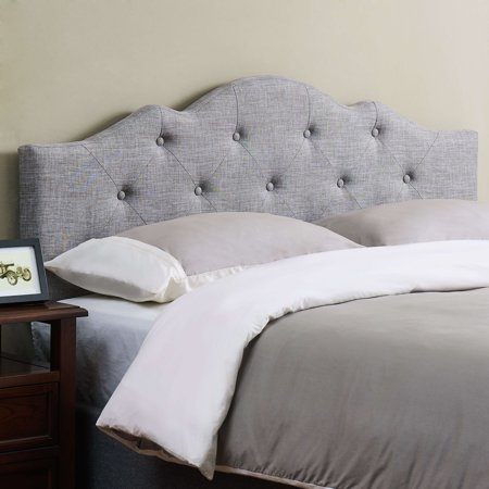 Mainstays Minimal Tufted Rounded Headboard, King/Cal King, Gray