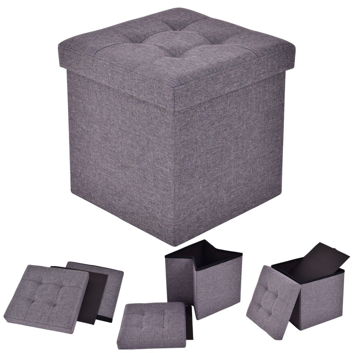 Costway Folding Storage Cube Ottoman Seat Stool Box Footrest Furniture Decor Dark Gray