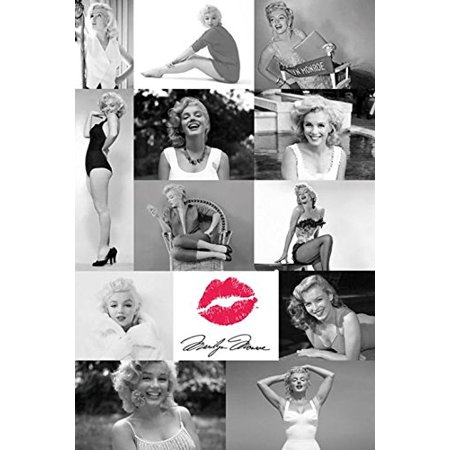 Marilyn Monroe Photo Tiles Collage with Red Lips 36x24 Icon Art Print - Red Lips Art Poster