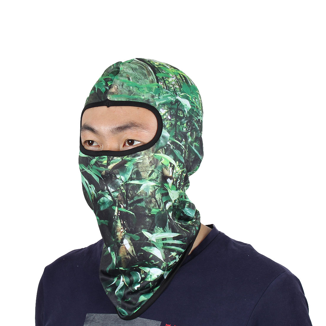Leave Pattern Full Face Mask Biking Neck Protector Hood Helmet Balaclava Green by Unique-Bargains