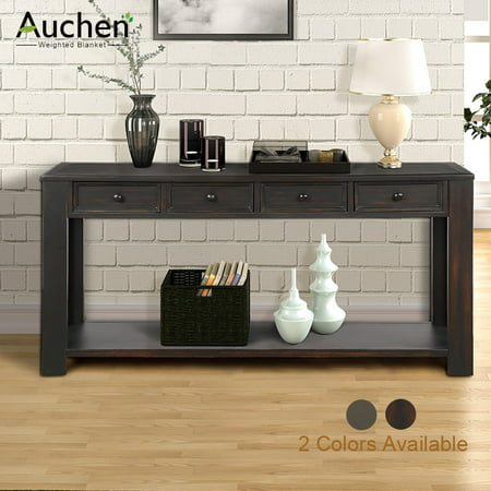 AUCHEN Entryway Table | Rustic Wood Console Table for Entryway Hallway, Sofa Table with 4 Storage Drawers and Bottom Shelf (Black) ()