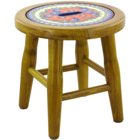 Polish Pottery 12-inch Stool (Red Star Theme) Signature UNIKAT Hand Painted in Boleslawiec, Poland + Certificate of Authenticity ()
