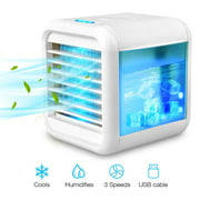 Personal Air Cooler, USB Evaporative Coolers with Waterbox, Portable LED Table Fan, 3 Fan Speed, USB Charging, Ultra-Quiet Table Fan