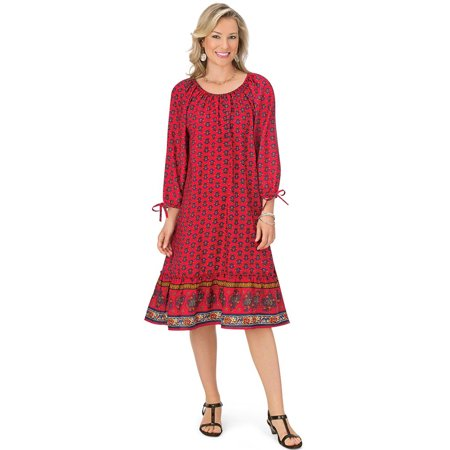 Women's Casual Woven Crepe Dress with Tie Sleepves, Boho Geometric Pattern, Mid-Thigh Length, Medium, Red - Multi Length
