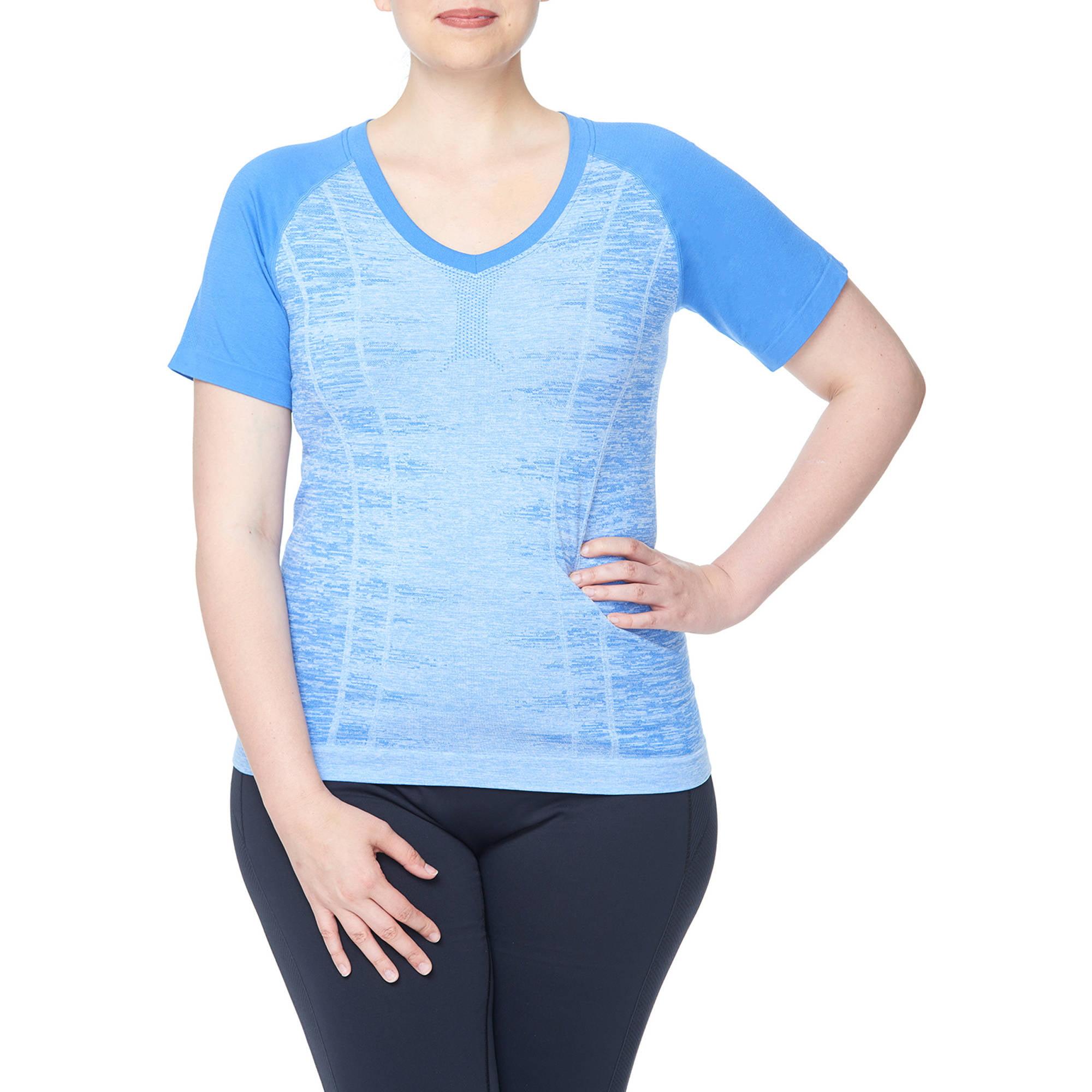 Women's Plus V Neck Raglan Short Sleeves Top