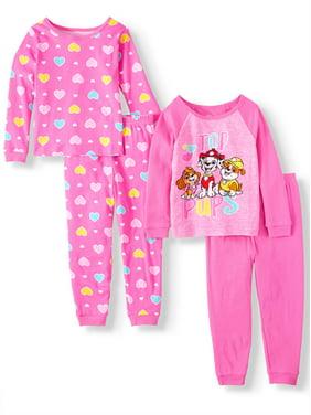 Paw Patrol Toddler Girl Long Sleeve Cotton Snug Fit Pajamas, 4Pc Set