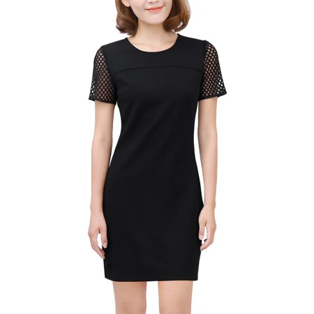 Unique Bargains Women's Pullover Short Sleeve Panel Unlined Casual Sheath Dress Black