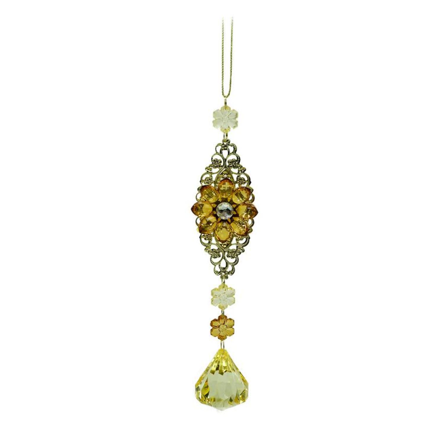"7"" Luxury Lodge Gold with Amber and Honey Flower Drop Christmas Ornament - image 2 de 2"