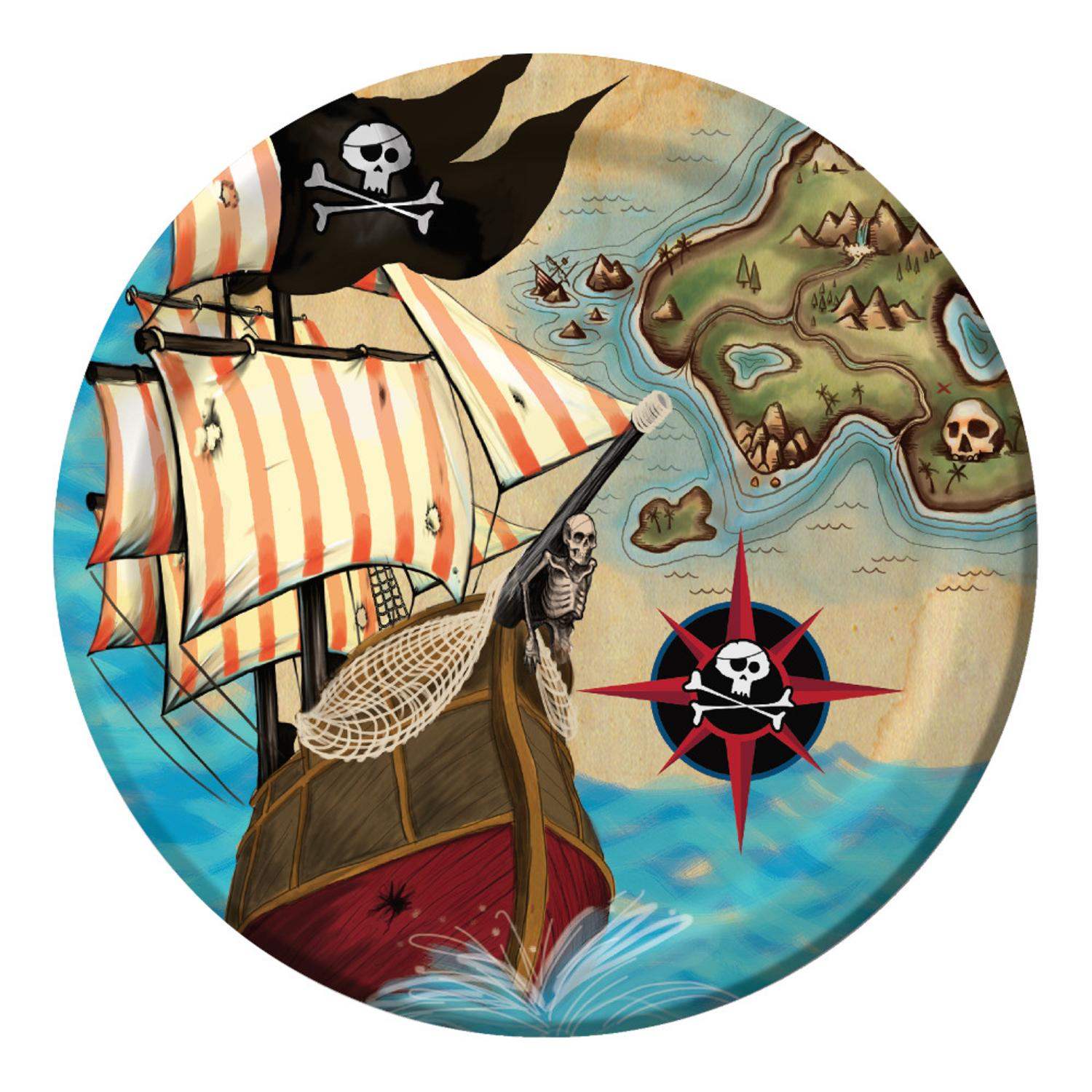 """Club Pack of 96 Pirate's Map Disposable Paper Lunch Plates 7"""""""