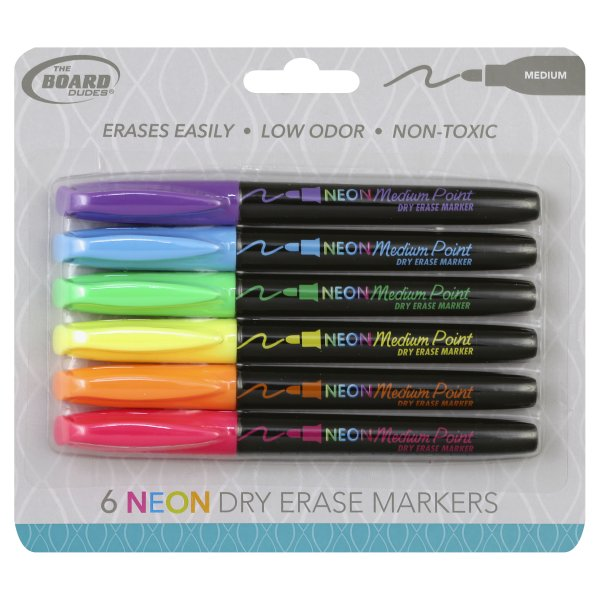 Mega Brands, The Board Dudes Neon Dry Erase Medium Marker, 6 markers