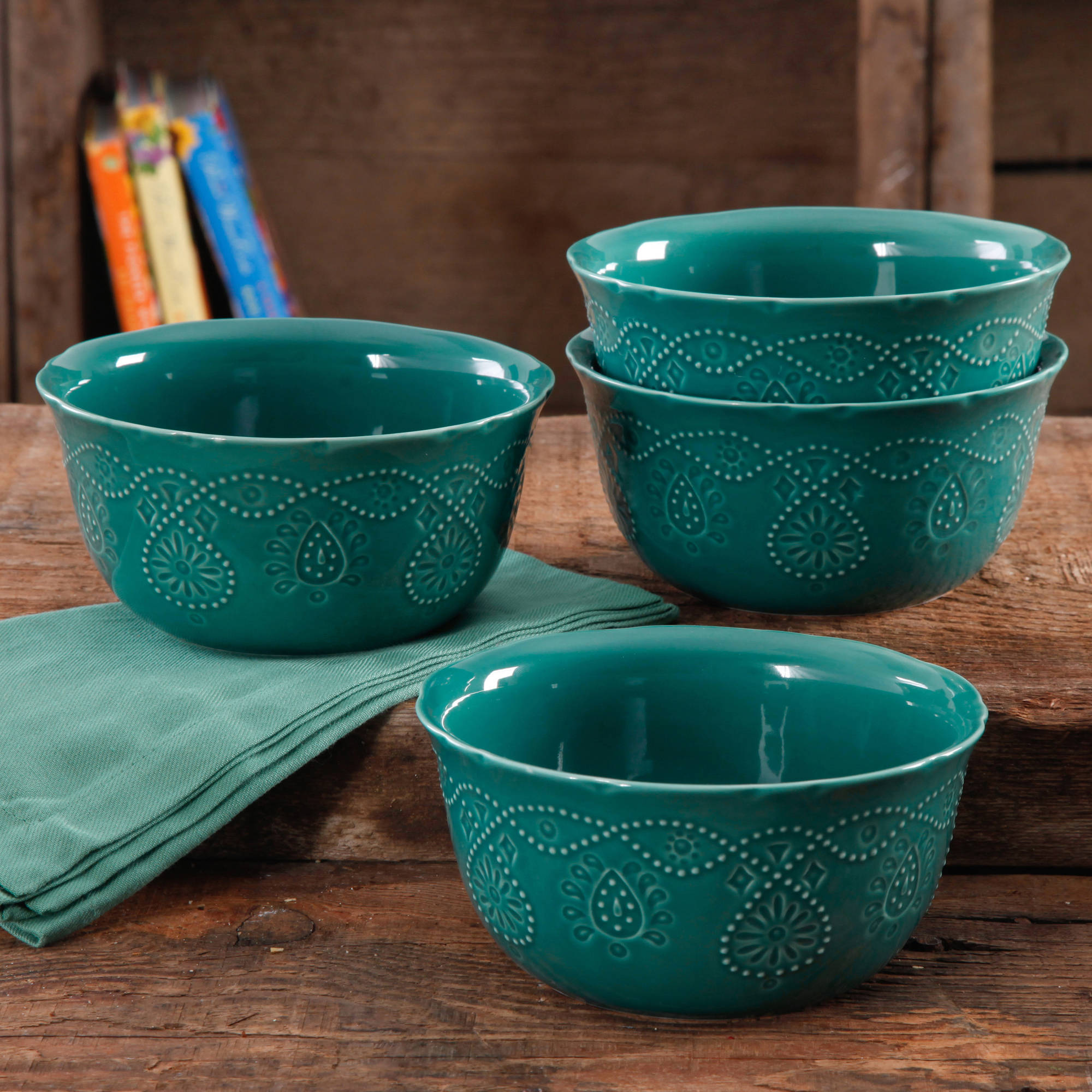 The Pioneer Woman Cowgirl Lace Transparent Glaze 4-Pack Bowls