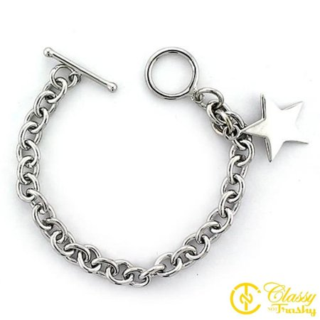Silver Toggle Closure (Classy Not Trashy® Women's 7 Inch Sterling Silver Star Charm Toggle Closure Bracelet)