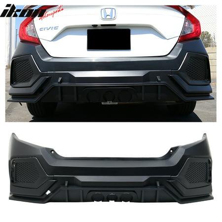 Honda Fit Bumper - Fits 16-18 Honda Civic 10th X Gen 4DR Sedan CTR Rear Bumper Cover Replacement