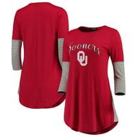 Oklahoma Sooners Women's Striking in Stripes Tunic Tri-Blend Shirt - Crimson