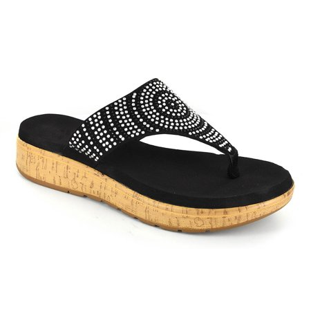 Corkys Womens Rowley Rhinestone Sandals (Black, 6)