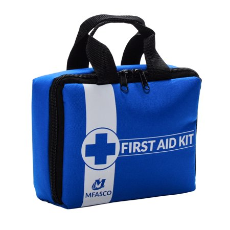 First Aid Kit Packed in Blue Bag with Zippered Pockets to Keep Supplies Neat by