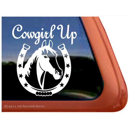 Cowgirl Up   High Quality Adhesive Vinyl Horse Head Window Decal