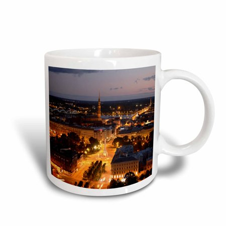 3dRose City skyline, evening, Riga, Latvia - EU39 BBI0020 - Bruce Yuanyue Bi, Ceramic Mug, 15-ounce