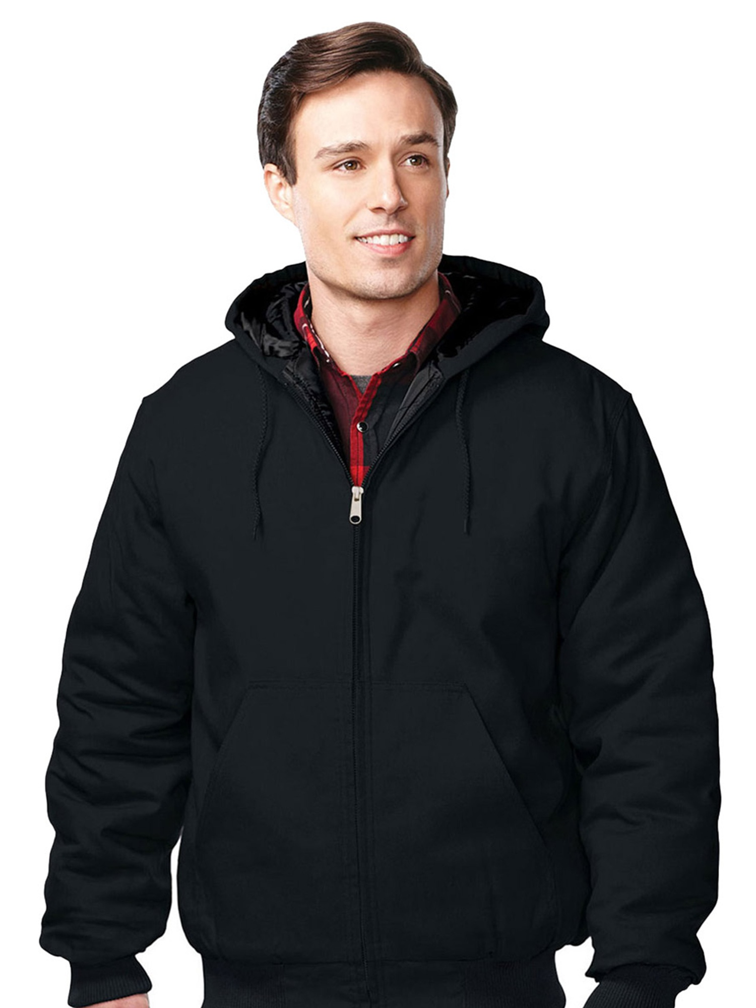Tri-Mountain Men's Big And Tall Quilted Hooded Canvas Jacket