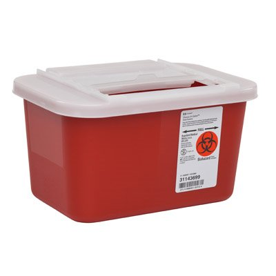 Sharps Container, 1 Gallon, Sharps-A-Gator Nestable Multi-purpose 1-Piece, Horizontal Entry Lid - Each