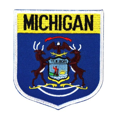 - State Flag Shield Michigan Patch Badge Travel USA Embroidered Iron On Applique