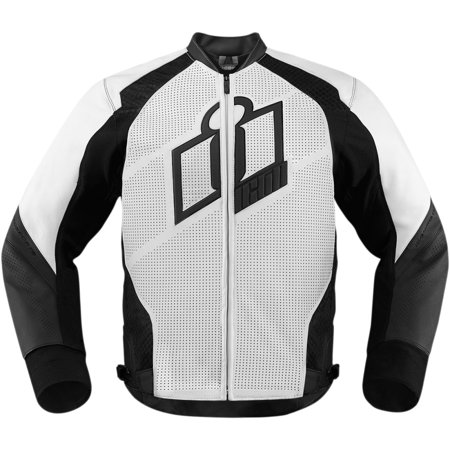 Icon Hypersport Mens Leather Jacket White