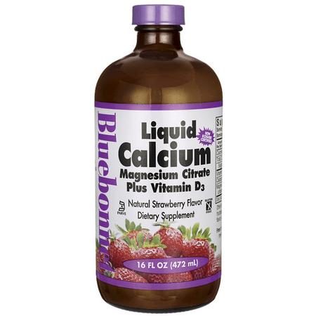 Bluebonnet Nutrition Liquid Calcium Magnesium Citrate Plus Vitamin D3, Natural Strawberry, 16 Fl Oz
