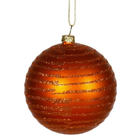 Burnt Orange Glitter Striped Shatterproof Christmas Ball Ornament 3