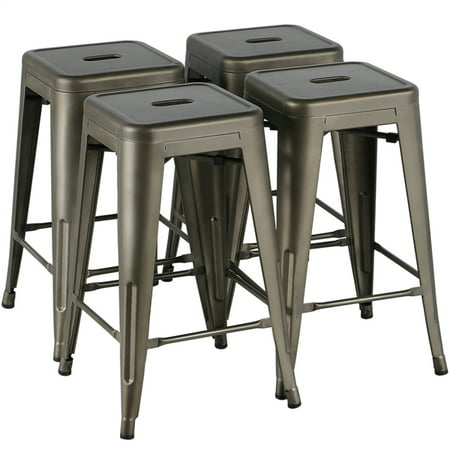Yaheetech 24\'\'Metal stools Counter Height Kitchen Stools Set of 4 Backless  Stackable Bar Stools Indoor/Outdoor