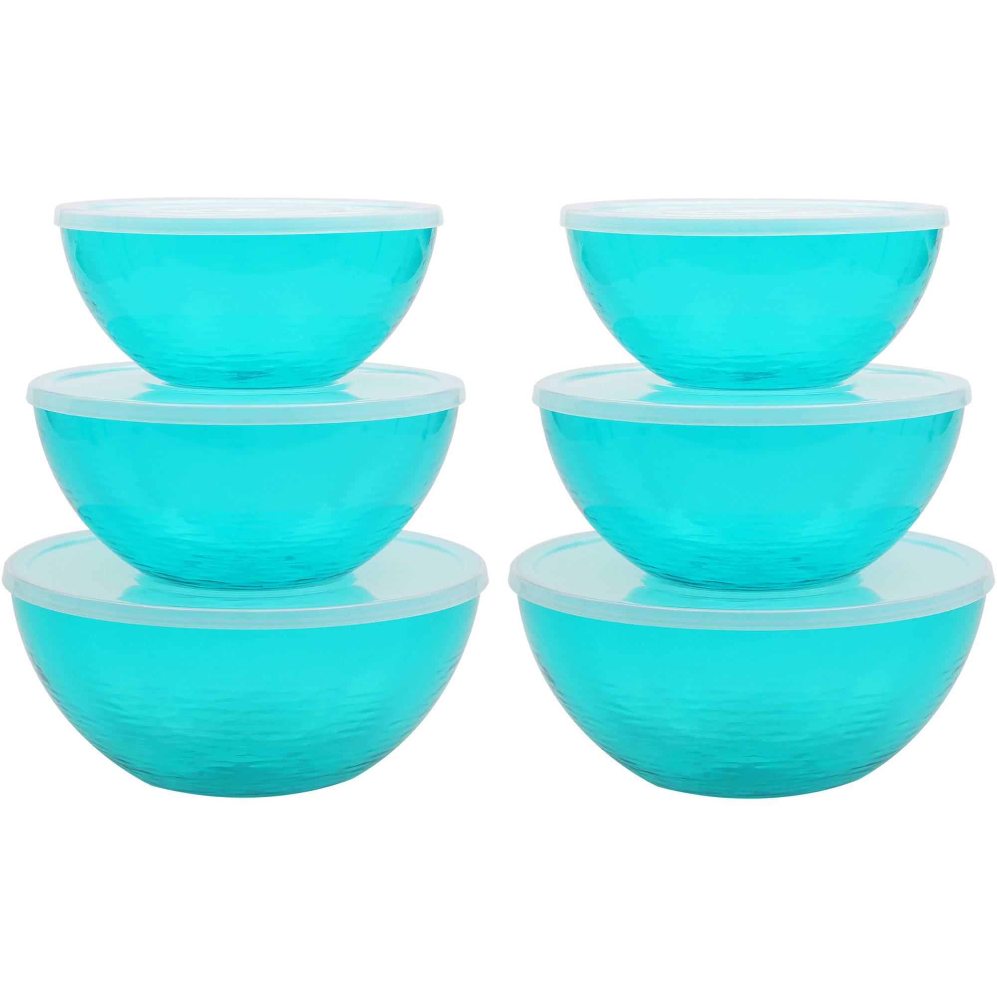 Mainstays Teal Lidded Bowl, 2pk 6-Piece Sets