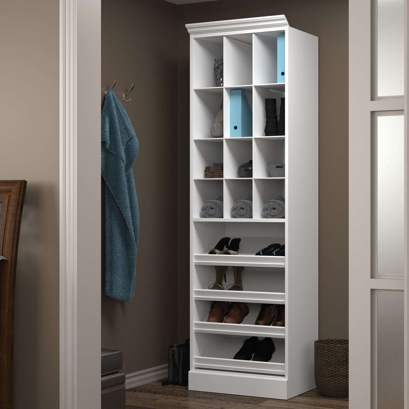 "Versatile by Bestar 25"" Cubby Storage unit in White"