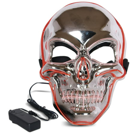 Halloween LED Mask Purge Masks with Lighten EL Wires Scary Light Up Cosplay Costume Mask Battery-operated Glowing Creepy Skull Mask Silver