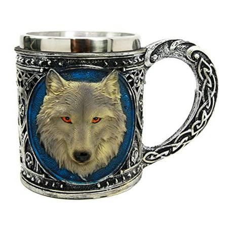 Figurine Mug (Atlantic Collectibles Alpha Gray Wolf Celtic Tribal Magic Resin 16oz Mug With Stainless Steel Rim Figurine)