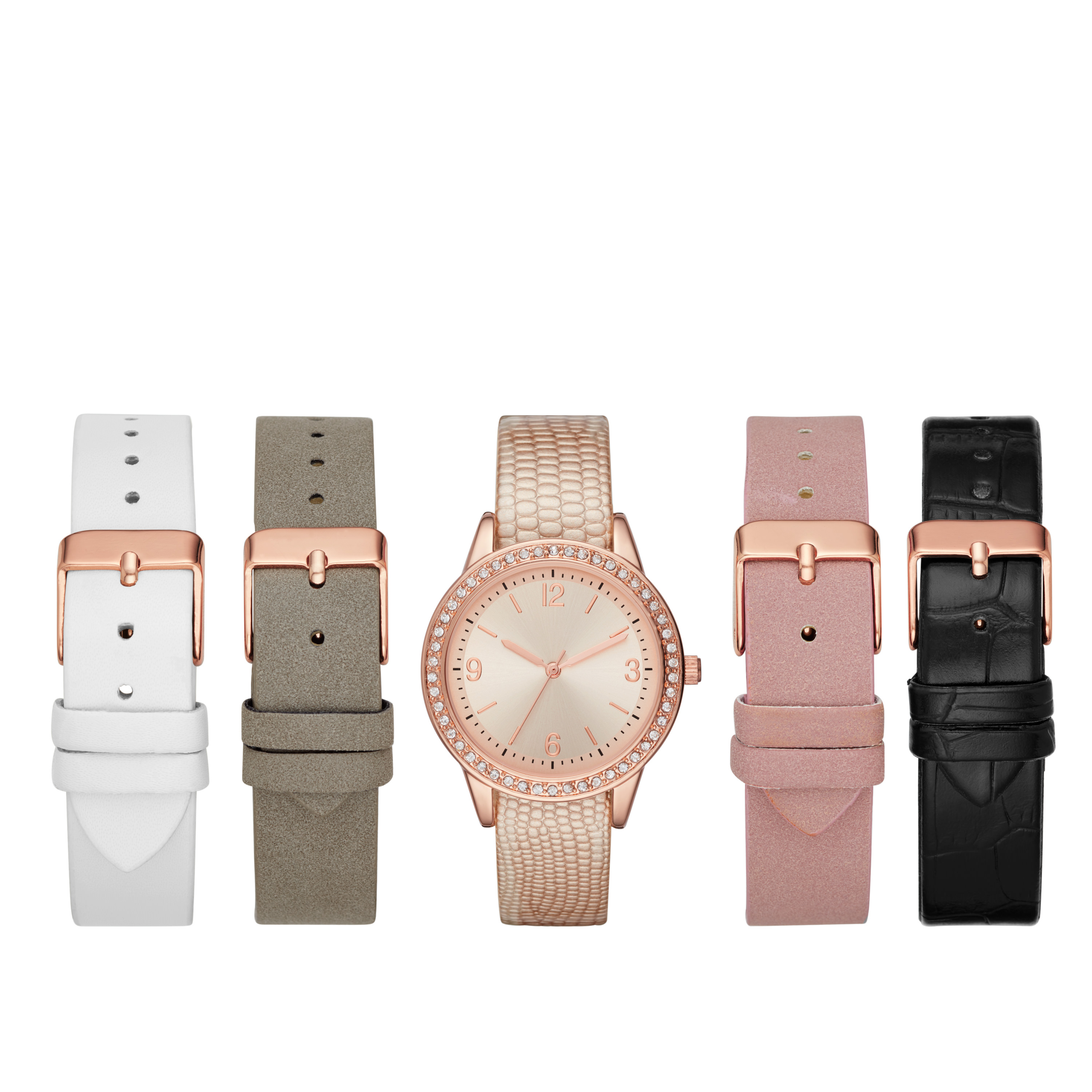 Ladies' Rose Gold Watch Set with Interchangeable Straps
