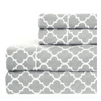 Royal Tradition Printed Meridian 100% Cotton Percale Sheets - Queen - Gray/White