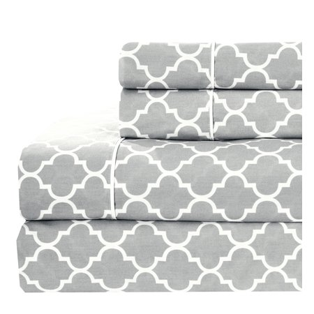 Royal Tradition Printed Meridian 100% Cotton Percale Sheets - Queen - Gray/White ()