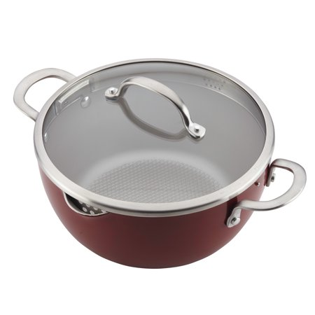 - Ayesha Curry Home Collection Porcelain Enamel Nonstick Covered Straining Casserole, 5.5-Quart