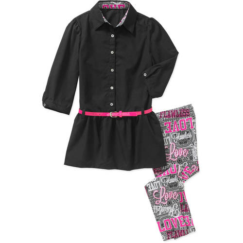 One Step Up Girls' CHECK ME ON SET 2 Piece Belted Poplin Long Top with Allover Printed Peached Leggings Set