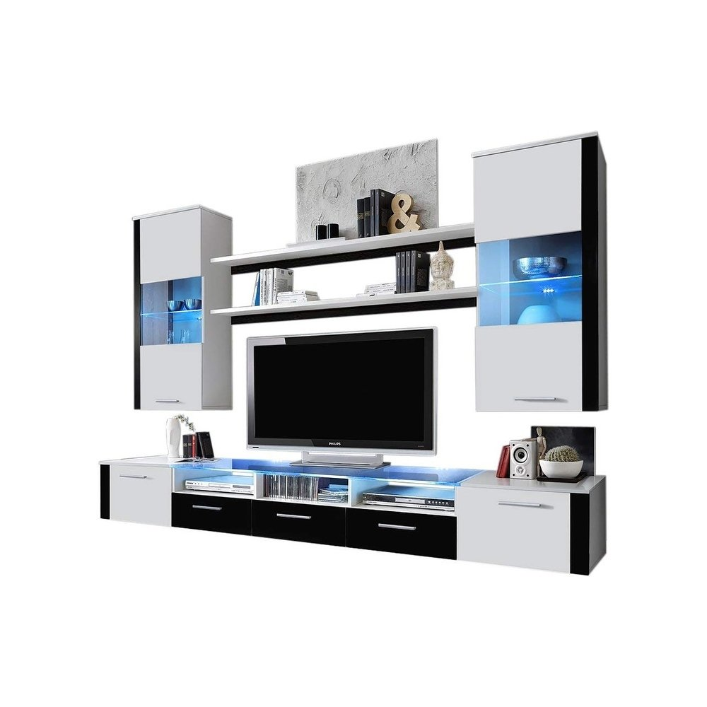 Meble Furniture & Rugs Fresh Wall Unit Modern Entertainment Center with LED Lights