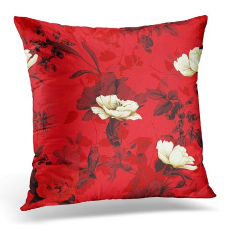 ARHOME White Floral of Wild Rose Poppy Flowers Cornflowers with Humming Bird on Branch with Leaves Red Throw Pillow Case Pillow Cover Sofa Home Decor 16x16 Inches