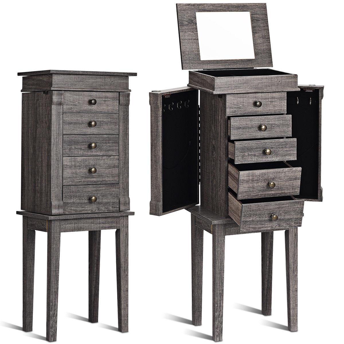 Gymax Standing Jewelry Cabinet Storage Organizer Wood Legs Mirror&5 Drawers Christmas Gift