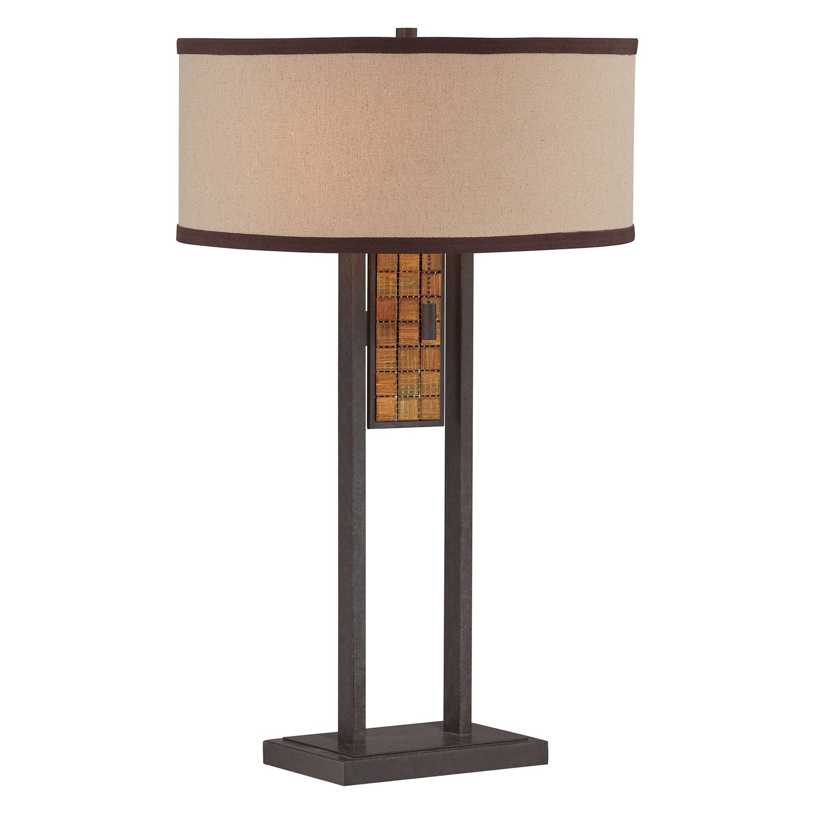 Lite Source Marquetta 2-Light Table Lamp, Aged Bronze Finish with Mosaic Accent and Beige Fabric Shade with Brown Trim
