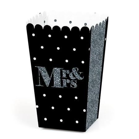 Mr. & Mrs. Silver - Wedding Favor Popcorn Treat Boxes - Set of 12 - Wedding Treats