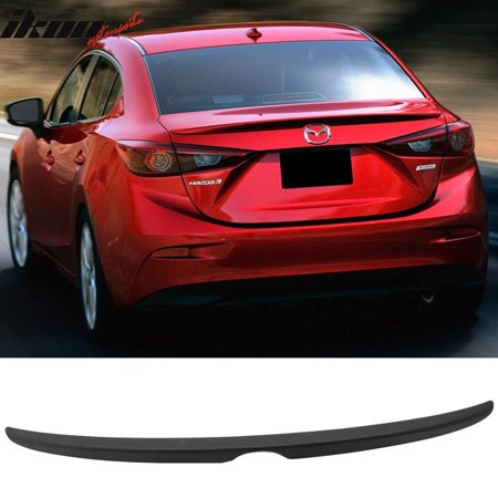 Matte Black Fits 14-18 Mazda 3 Mazda3 4Dr Sedan Flush Factory Trunk Spoiler
