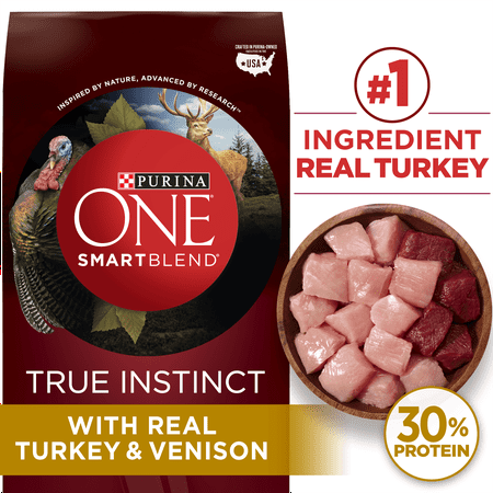 Purina ONE High Protein Natural Dry Dog Food SmartBlend True Instinct With Real Turkey & Venison - 36 lb. Bag