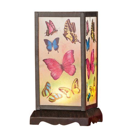 Antique Butterfly Translucent Panel Lamp with Remote Control - Tabletop Decorative Accent for Mantel or Bedside Table