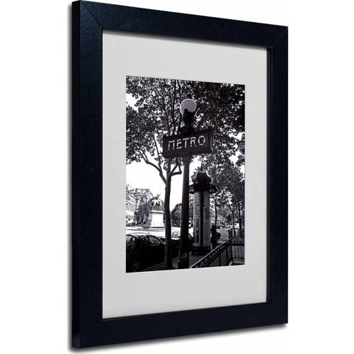 "Trademark Fine Art ""Paris Metro and Kiosk"" Matted Framed Art by Kathy Yates, Black Frame"