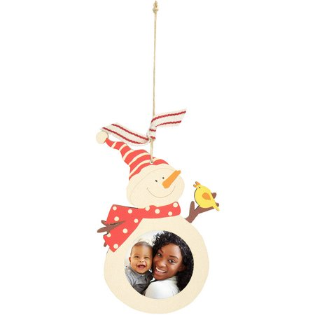 Wooden Ply Photo Ornament - - Wooden Snowman