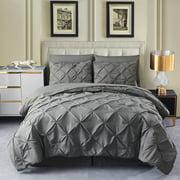 8 Piece Pinch Pleat Queen Comforter Set – Bed in a Bag Microfiber Pintuck Bedding Set with Pillow Shams(Dark Grey,Queen)