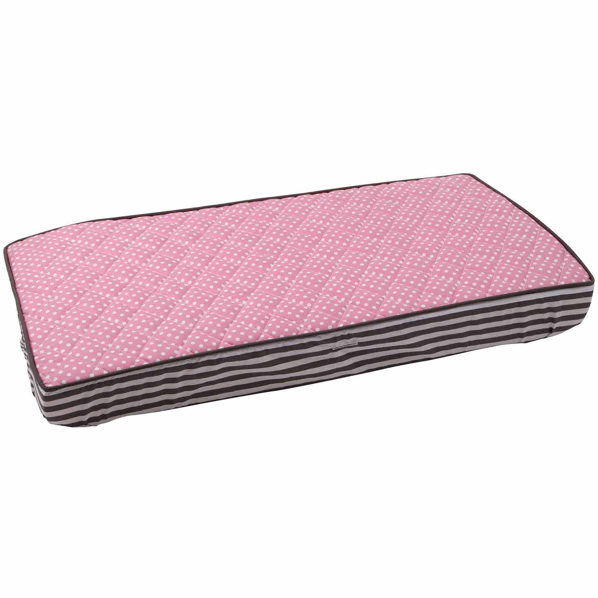 Bacati - Elephants Pin dots Quilted Top 100% Cotton Percale with Polyester Batting Diaper Changing Pad Cover, Pink/Gray